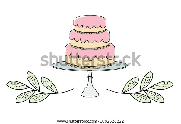 Cake Tiers with Leaf Border