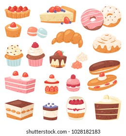 Cake vector chocolate confectionery cupcake and sweet confection dessert with caked candies illustration confected donut with chococream and sweets in bakery set isolated on white background