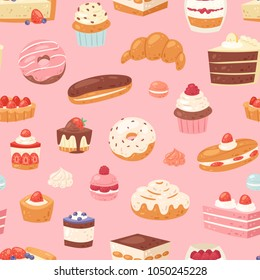 Cake vector chocolate confectionery cupcake and sweet confection dessert with caked candies illustration confected donut with chococream and sweets in bakery set seamless pattern background