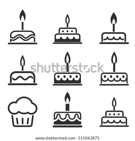 Immagine Vettoriale A Tema Cake Vector Icons Set Black Illustration
