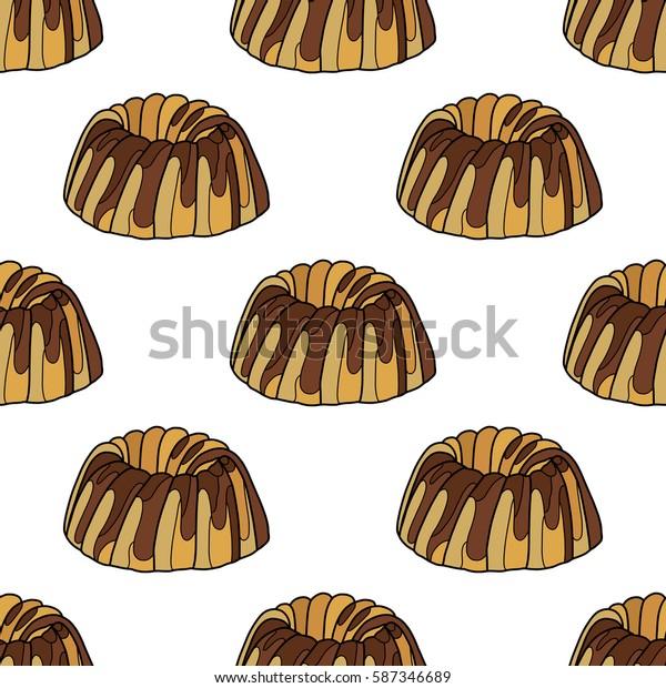Cake, vector illustration, tasty food, desert, pattern