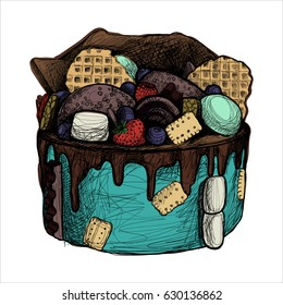 Cake with waffles, chocolate and biscuit, desert, food, vector illustration