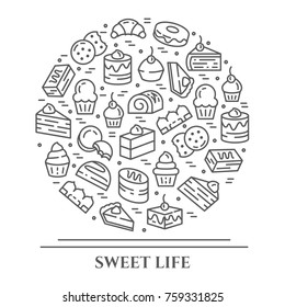 Cakes and cookies banner with pictograms of different sweet desserts and food elements collected in form of circle. Vector illustration of isolated outline bakery icons with editable stroke.