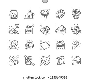 Cakes and cookies Well-crafted Pixel Perfect Vector Thin Line Icons 30 2x Grid for Web Graphics and Apps. Simple Minimal Pictogram