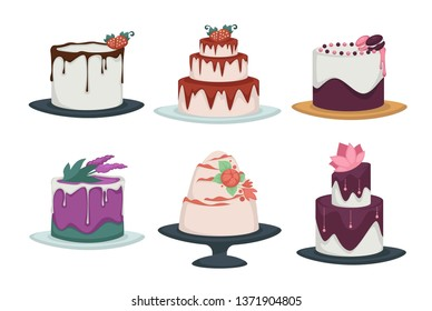 Cakes and cupcakes isolated icons confectionery products vector chocolate and fruit jam strawberry and lavender macaroons and cream flowers pastry food festive dessert on plates festive decorations.