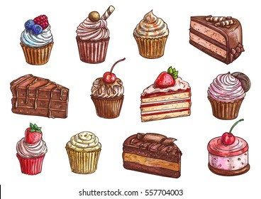 Cakes, cupcakes and pastry desserts. Vector chocolate muffin, creamy pie or tarts with strawberry and cherry on whipped cream topping, waffle biscuit and cookies for bakery shop, cafe or patisserie
