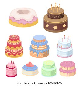 Cakes for the holidays. A set of different sweets. Beautifully decorated cakes and muffins.Cakes icon in set collection on cartoon style vector symbol stock illustration.