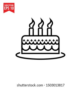 Cakes icon template black color editable. Birthday symbol vector sign isolated on white background. Simple logo vector illustration for graphic and web design