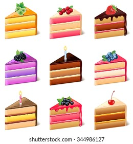 Cakes icons detailed photo realistic vector set