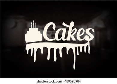 Cakes logo with melted chocolate,  Food labels collection.