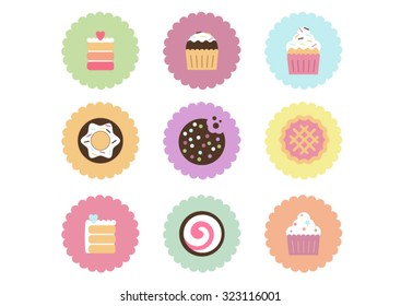 Cakes, macarons, pies, cookies, cupcakes, donuts and desserts flat icons set. Vector collection of sweets. Symbols for desserts and sweets.