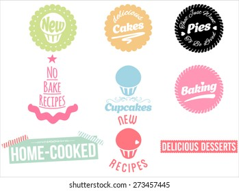 Cakes, pies and desserts icons set. Vector collection of desserts. Calligraphic titles and symbols for baking.