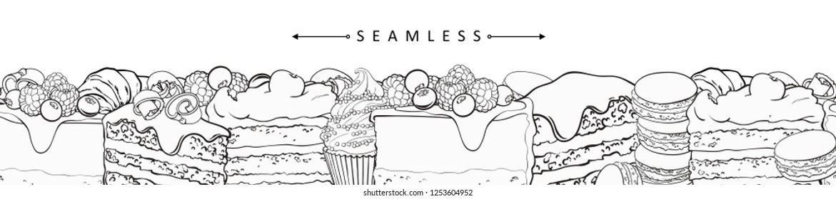 Cakes and pies horizontal seamless border pattern in line sketch style - frame with confectionery product with fruits and berries, vector illustration of hand drawn footer with sweet desserts.
