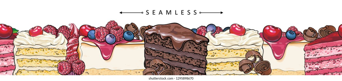 Cakes and pies horizontal seamless border pattern in sketch style - beautiful frame with hand drawn bakery product with fruits and berries. Vector illustration of bright footer with sweet desserts.