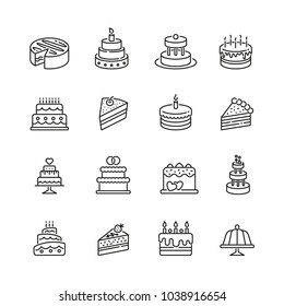 Cakes related icons: thin vector icon set, black and white kit