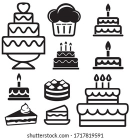 Cakes related icons: thin vector icon set