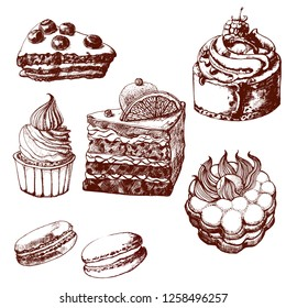 cakes set, hand drawing, brown, vector illustration isolated on white background