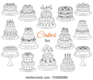 Cakes set, vector hand drawn doodle illustration. Different types of tasty cakes.  Birthday, wedding, cherry, strawberry and chocolate cakes collection, isolated on white background.