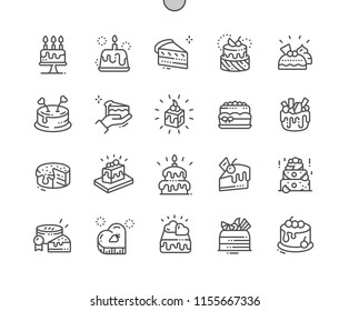 Cakes Well-crafted Pixel Perfect Vector Thin Line Icons 30 2x Grid for Web Graphics and Apps. Simple Minimal Pictogram