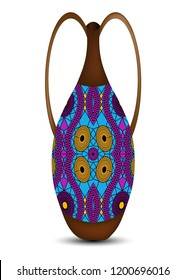 Calabash water bottle colorful logo design. Ceramic vase, authentic symbol of Africa with ethnic ornament, old African pots, Afro tribal pottery styles, Zulu color pot, vector Illustration isolated