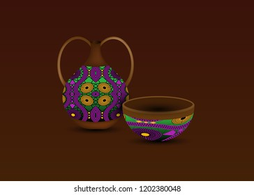 Calabash water bottle logo design. Ceramic vase and bowl, authentic symbol of Africa with ethnic ornament, old African pots, Afro tribal pottery styles, Zulu colorful pot, vector isolated on brown
