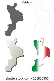 Calabria blank detailed outline map set - vector version
