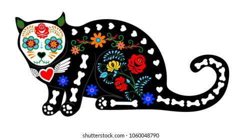 Calavera cat isolated on white for Mexican Day of the dead (Di­a de Muertos)