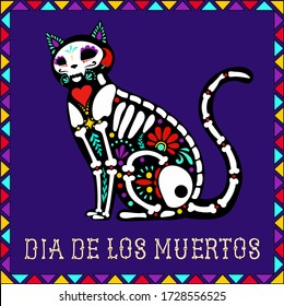 Calavera cat on a purple background with a frame and the inscription Dia de Muertos for Mexican Day of the Dead