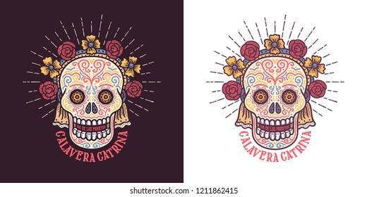 Calavera catrina Dia de los muertos sugar skull symbol with flowers. Day of thw dead retro illustration.