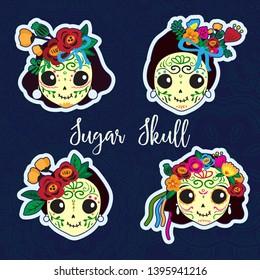 Calavera Catrina. Set of four sugar skulls. Cartoon stickers.