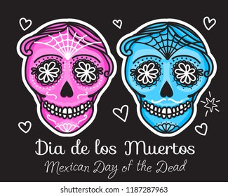 Calavera sign Dia de los muertos. Mexican Day of the dead. Vector hand darwing illustration woman and man sticker isolated on black background