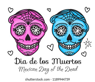 Calavera sign Dia de los muertos. Mexican Day of the dead. Vector hand darwing illustration woman and man sticker isolated on white background