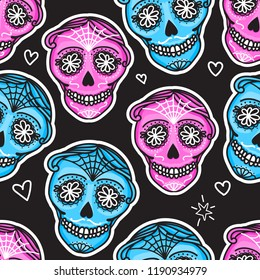 Calavera sign Dia de los muertos. Mexican Day of the dead. Seamless pattern. Vector hand darwing illustration woman and man sticker isolated on dark background