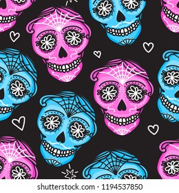 Calavera sign Dia de los muertos. Mexican Day of the dead. Seamless pattern. Vector hand darwing illustration woman and man isolated on dark background