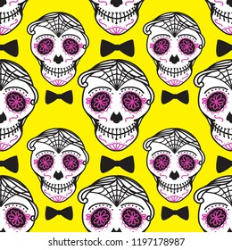 Calavera sign Dia de los muertos. Mexican Day of the dead. Seamless pattern. Bright Vector hand darwing illustration man isolated on yellow background