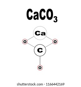 calcium carbonate, 2D molecular structure, CaCO3, vector illustration