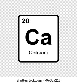 Calcium chemical element. Sign with atomic number. Chemical element of periodic table.