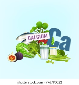 Calcium in food. Top foods rich with Ca - greens, dairy products, nuts, fruits and fish. Beautiful vector illustration with different products and a letter on a light background.