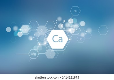 Calcium and other essential minerals for human health. Abstract composition in modern style. Scientific research, medicine. Schematic designation of Calcium.
