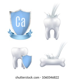 Calcium protection realistic icons collection for advertising medical production used for healthy teeth and bones isolated vector illustration