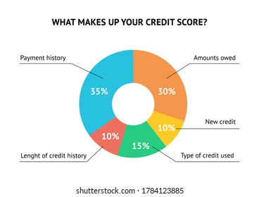 Calculate credit score pie chart flat vector concept isolated on white background