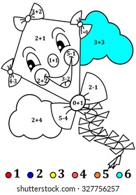 Calculate the examples and cheerful color the image kite - vector