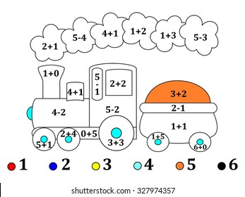 Calculate the examples and cheerful color the image train - vector