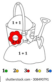 Calculate the examples and fill colors depending on the result - a bucket, shovel, sand - vector