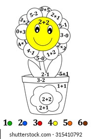 Calculate the examples and fill colors depending on the result - flower flowerpot - vector