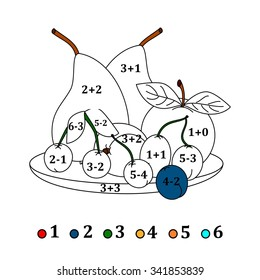 Calculate the examples and fill colors depending on the result - fruits - vector