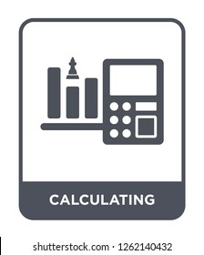 calculating icon vector on white background, calculating trendy filled icons from Strategy collection, calculating simple element illustration