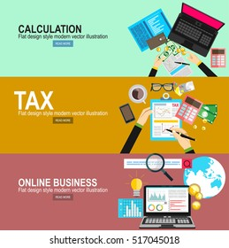Calculation concept. Businessman, accountant . Flat design, Vector Illustration. Financial calculations.Tax payment concept. State taxes.Online Business