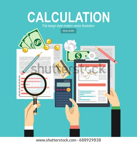 Calculation concept. Businessman, accountant . Flat design, Vector Illustration. Financial calculations, statistics, data analytics, planning, report.