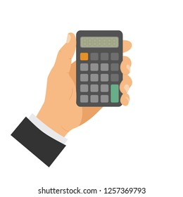 Calculation and Counting Concept, hand with calculator. Man holding calculator in hand. Vector illustration